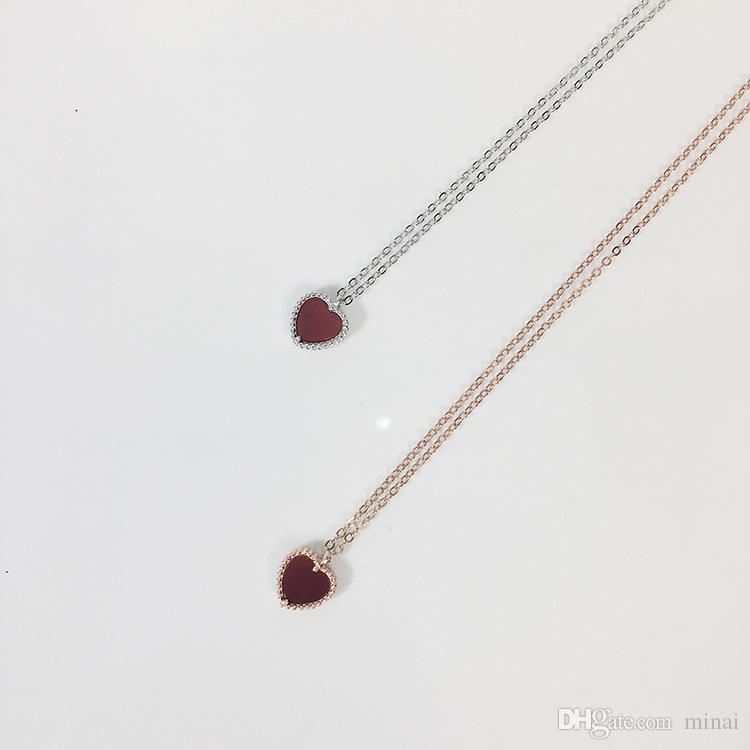 925 Sterling Silver Love Heart Red Short Minimalist Clavicle Chain Necklaces Temperament For Girl Best Gift