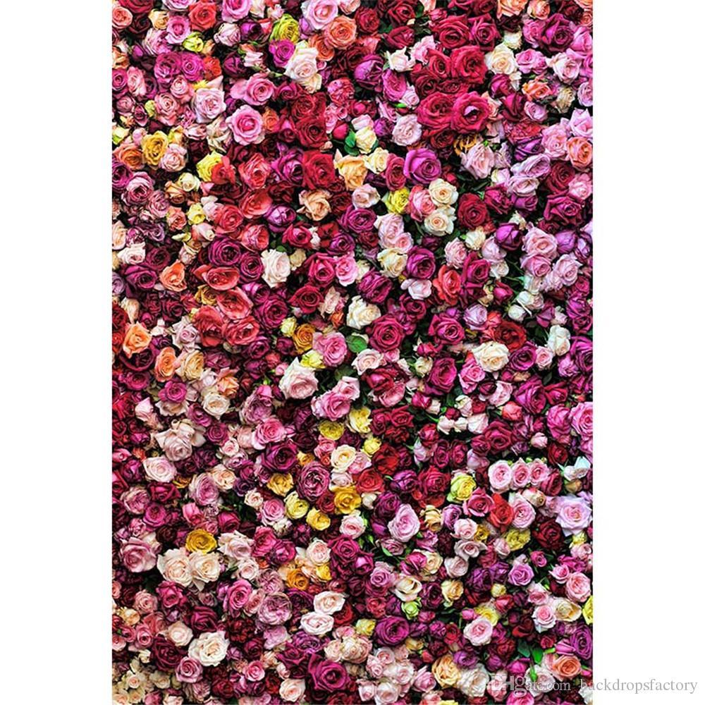 Toile de fond de mur de fleurs imprimé numérique pour la photographie de mariage Roses romantiques Fleurs de printemps Enfants Fille Fond de photo de vinyle