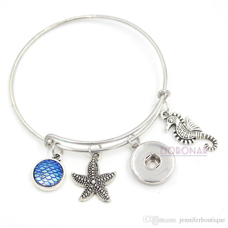 En gros Nouveau Mode Snap Bijoux Ocean Beach Style Seahorse Étoiles De Mer Charmes Snap Fil Bracelets Bracelets Bijoux Cadeaux pour les Femmes