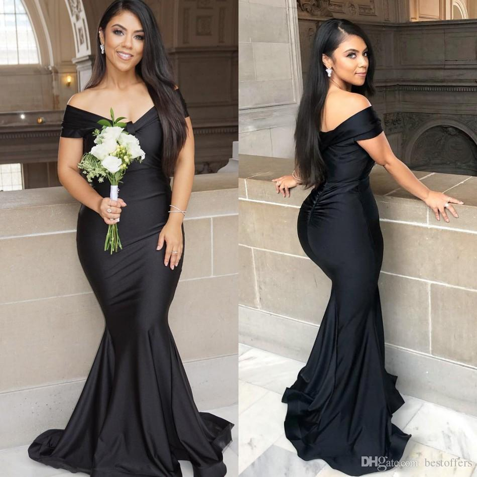 2019 New Black Plus Size Mermaid Bridesmaid Dresses Off Shoulder Formal  Evening Gowns Prom Dresses Pleats Cheap Simple Robe De Soiree Patterned ...