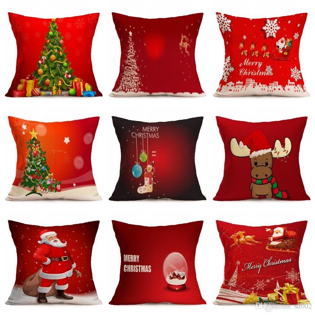 Santa Claus Pillowslip Novelty Christmas Tree Theme Throw Pillow Case For Home Sofa Decoration Cushion Cover Many Styles 5 5nt ZZ