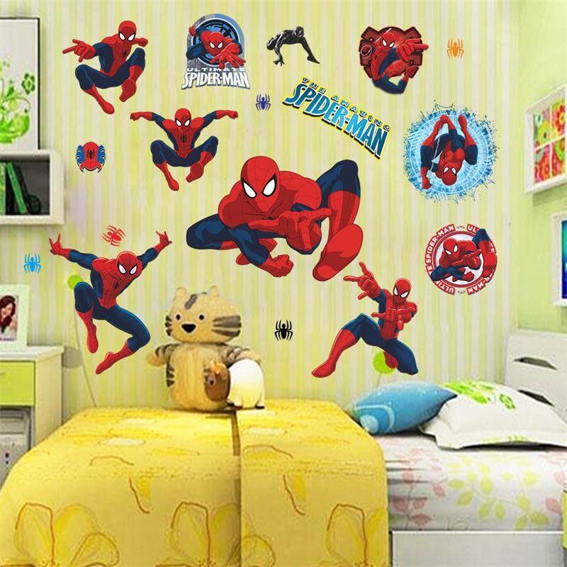 Compre 3D Vivid Spiderman Pegatinas De Pared Decorativos Para Habitaciones  De Niños Dibujos Animados Película Tatuajes De Pared Decoración Para El ...