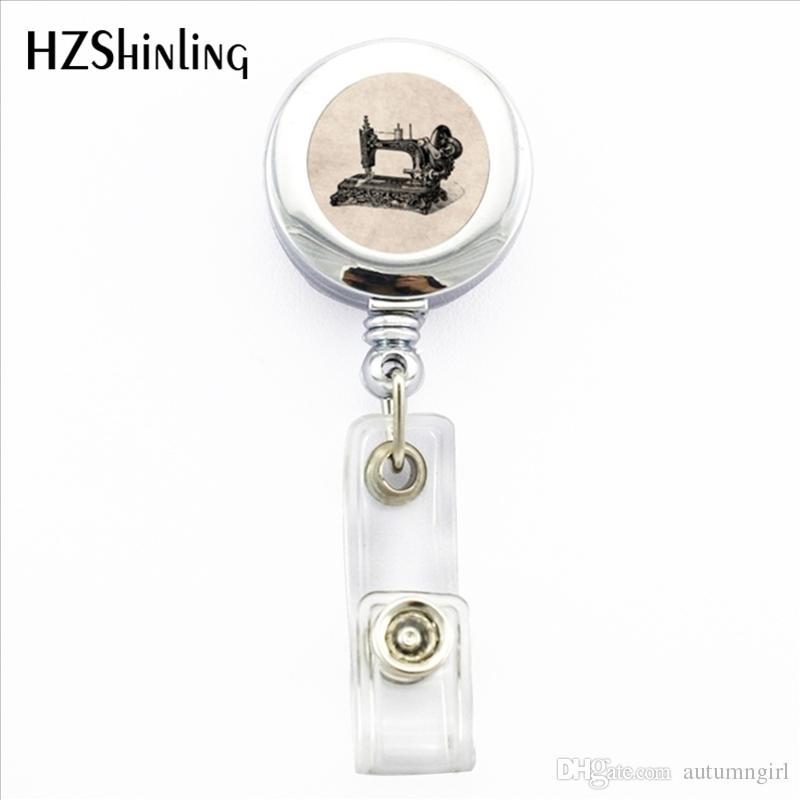 NBH-0040 New Vintage Sewing Machine Badge Holder Sewing Machine ID Card Holder Badge Round Photo Office Badge Reel