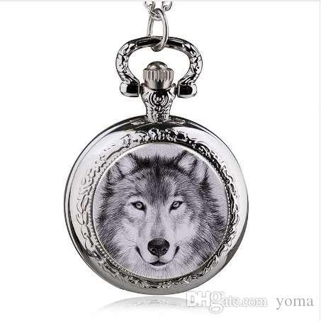 HOT New Fashion Wolf Quartz Montre De Poche Collier Pendentif Hommes Montre Femme Montre