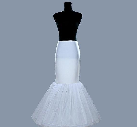 Barato Blanco 1 Aro Enaguas de sirena para la sirena Vestidos de novia Crinolina Trompeta Accesorios nupciales Venta caliente Nuevo En Stock A04