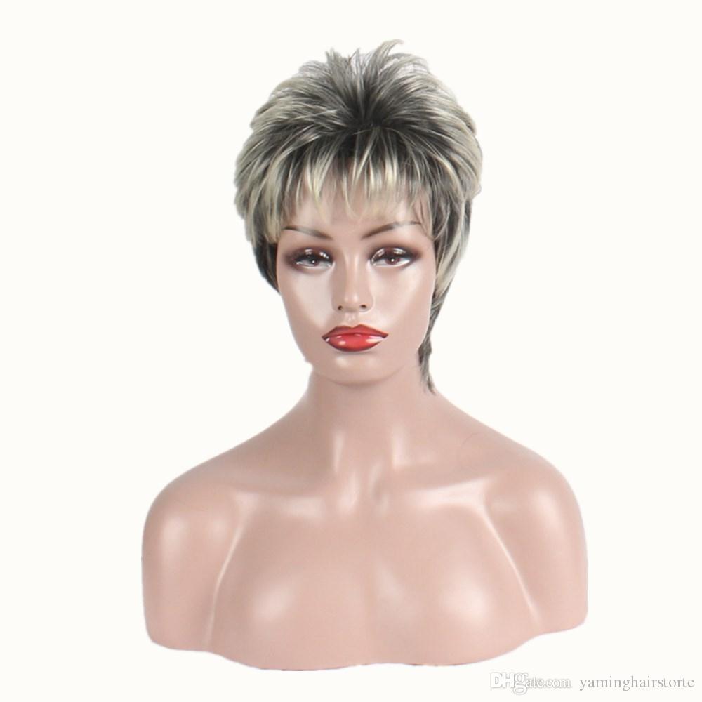 여성을위한 짧은 머리 가발 실버 그레이 합성 가발 내열성 자연 스트레이트 헤어 가발 파티 코스프레 가발