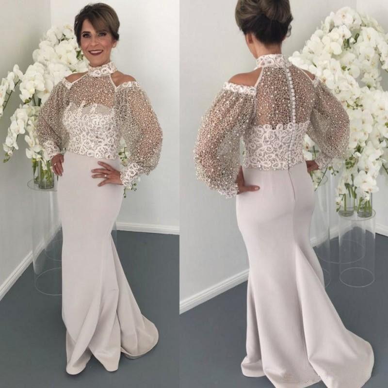 2018 Nueva madre de cuello alto de los vestidos de novia con manga larga vestidos de noche abalorios perlas encaje vestido de huésped de la boda más tamaño