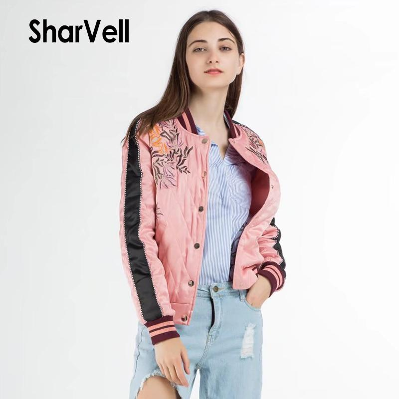 Sharvell Women Winter Jackets Fashion Pink Embroidery Floral Basic Cotton Coat Casual Bomber Single Breasted Stand Outwear