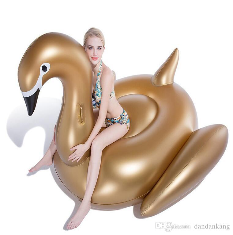 190 cm de ouro Cisne Natação Flutuar New Gigante Swan Flamingo Flutuadores Infláveis Natação Anel Jangada Flutuante Brinquedos de água adulto colchão de ar