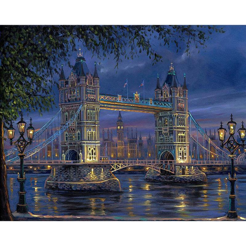 Frameless London Bridge Paysage Diy Peinture Par Numéros Mur Art Photo Peint À La Main Pour La Décoration 40x50cm
