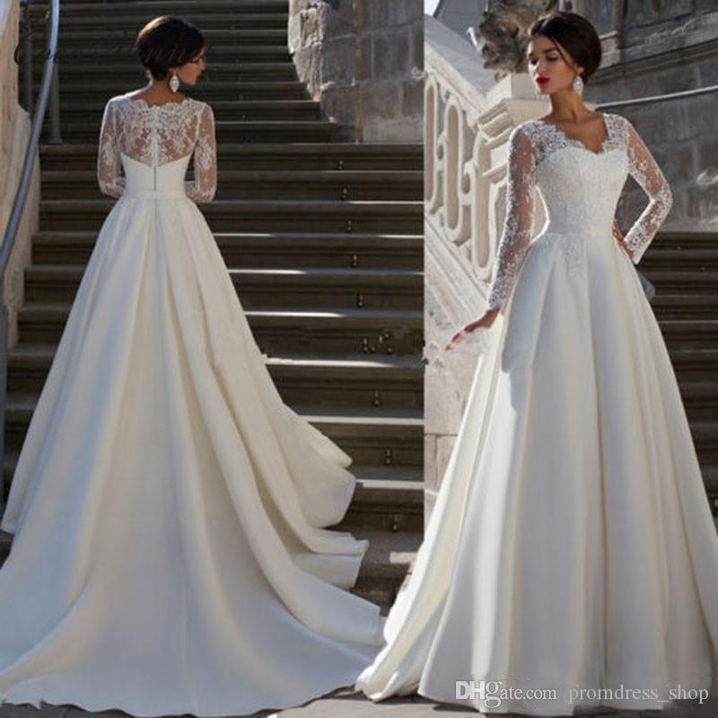 2019 Modest A Line Brautkleider Mit Langen Ärmeln Spitze Applique V-Ausschnitt Plus Size Brautkleider Mit Knöpfen Zurück Brautkleider