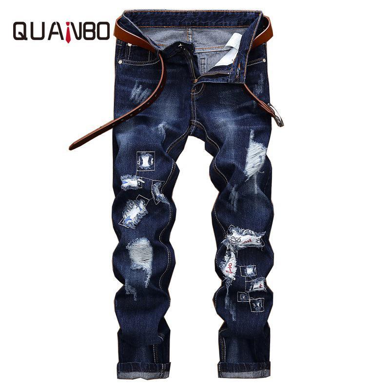 2018 Yeni Bahar Moda Delik Kot Erkekler Uzun Pantolon İşlemeli Pamuk Klasik Düz Kot Artı boyutu Mavi N2040
