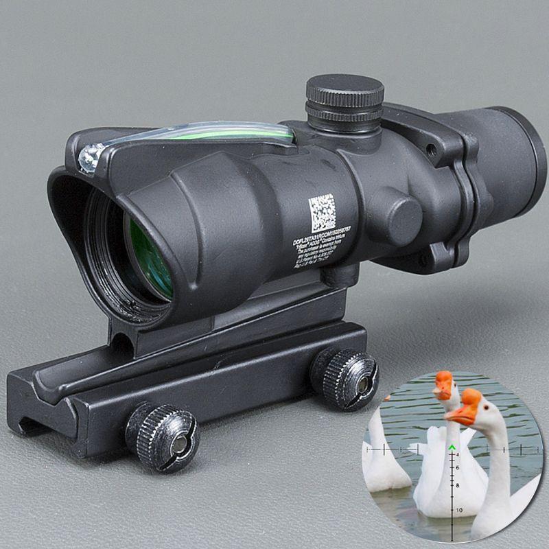 Trijicon 사냥 Riflescope ACOG 4X32 실시간 광섬유 적색 녹색 조명 쉐브론 유리 에칭 십자선 전술 광학 시력