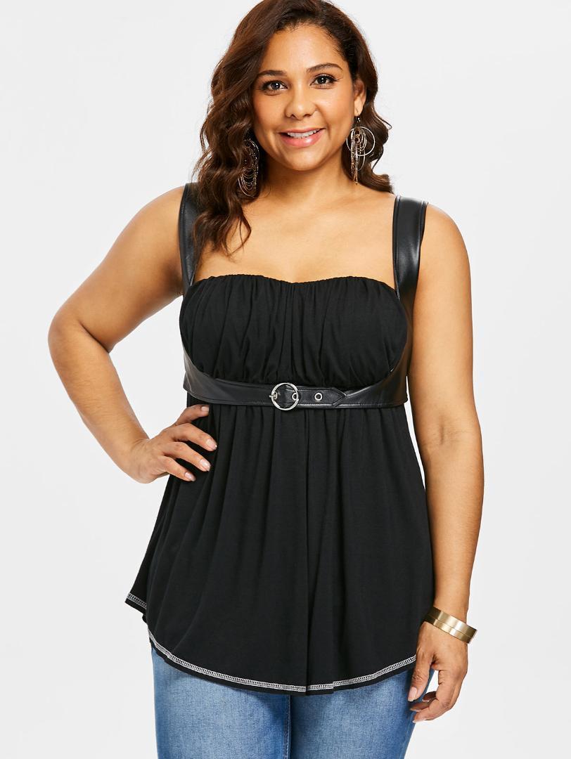 Wipalo Plus Size - Empire-Taille - Kurviges Trägershirt Sexy Pu-Lederbesatz mit quadratischem Ausschnitt Gothic-Trägershirt Damen Kleidung Große Größe 5XL