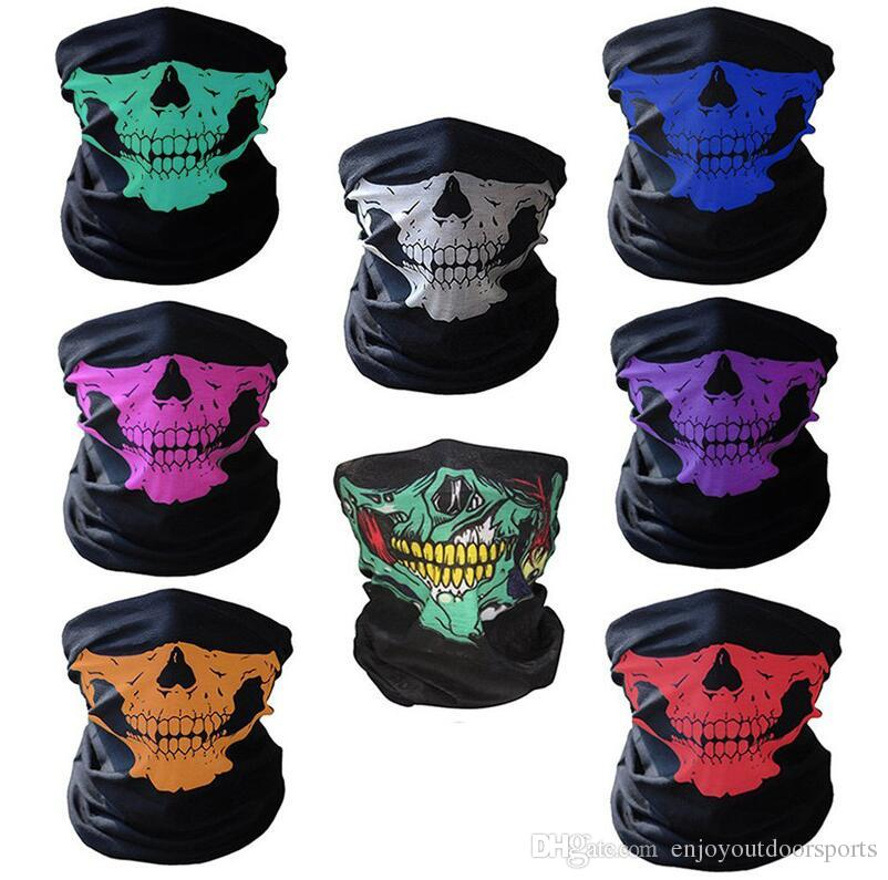 Bicicleta Ski Skull Half Face Mask Fantasma Bufanda Magic Headscarf Multi Use Warmer Snowboard Cap Máscaras de Ciclismo Regalo de Halloween Accesorios de Cosplay