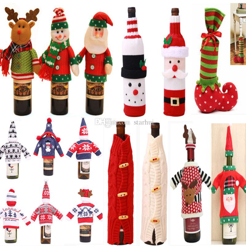 크리스마스 장식 산타 클로스 와인 병 커버 선물 순록 눈송이 병 홀드 백 케이스 눈사람 크리스마스 장식 홈 장식 WX9-841