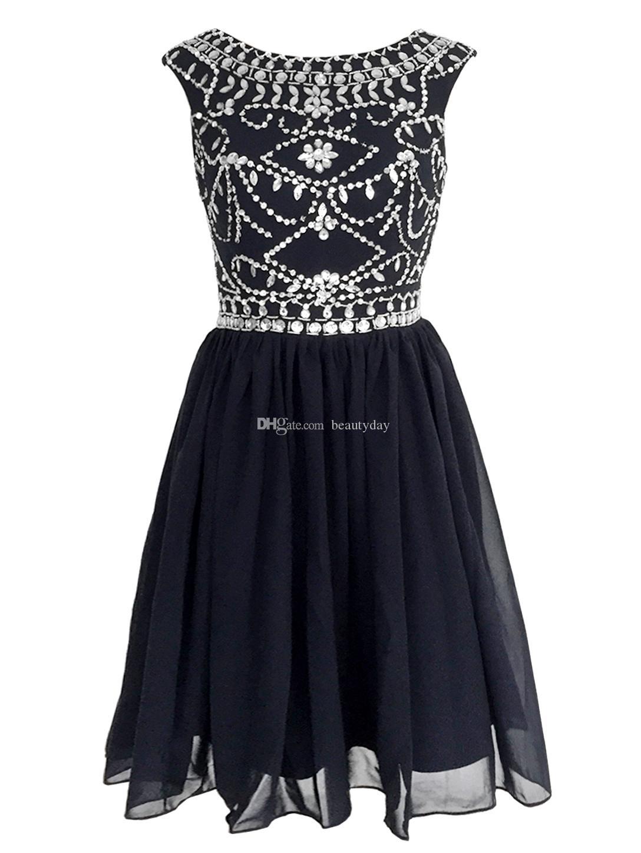 Kısa Balo Parti Elbise Homecoming Kıyafeti A Hattı Sheer Boyun Backless Lacivert Boncuk Kristaller Parti Kokteyl Elbise Şifon