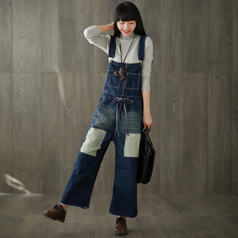 Acheter Casual Plus Size Cotton Denim Combinaison Pantalon Pour Femmes Combinaison Femme Pantalon Large Jupe Pantalon Trous Jeans De $58.88 Du Houmian