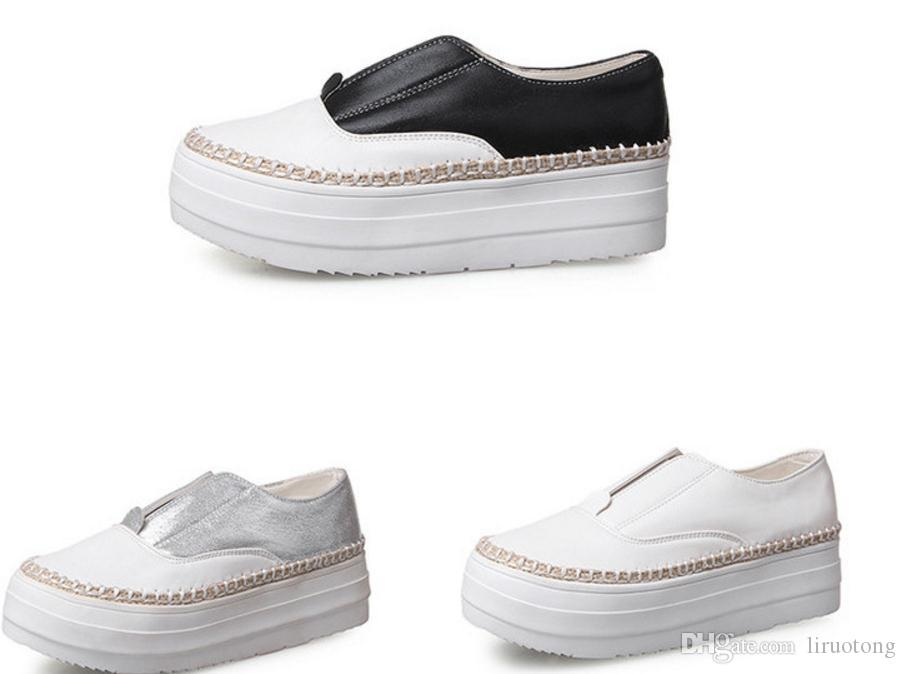 Spring and summer new large size thick shoes students Le Fu small yards pedal shoes