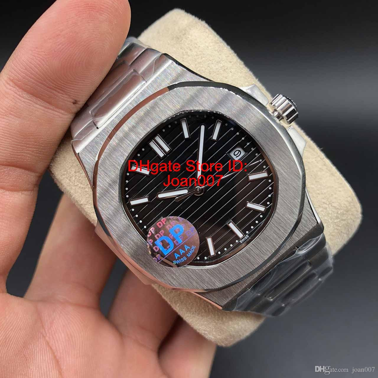 DP высокое качество синий циферблат Азия 2813 Движение Sapphire Наручные часы 40mm Nautilus 5711 Механическая Transparent Автоматическая Мужские часы Часы