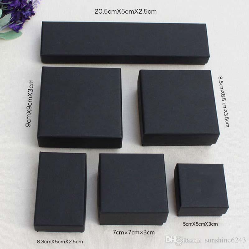 Alta Arquivos Preto Kraft Embalagem De Jóias Pulseira Colar Anel Ear Nail Box Presente de Ano Novo De Natal Personalizar 6 Tamanho