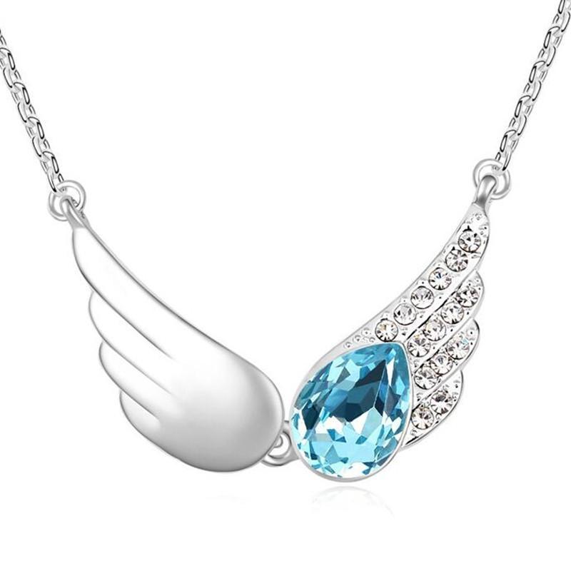 Haute Qualité Vintage Wings Colliers Pendentifs en cristal de Swarovski Elements femmes Joyas or blanc plaqué Saint Valentin cadeau 15240