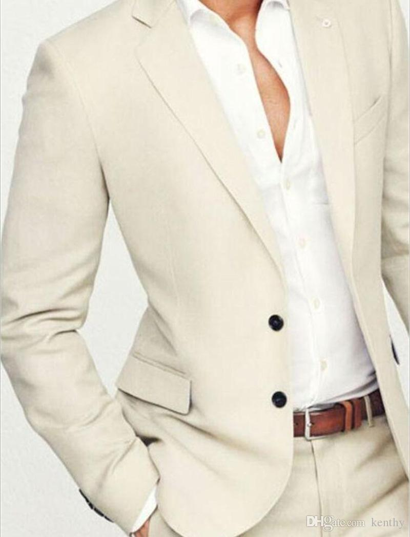 Custom Made 2018 Summer Beige Groom Tuxedos Men's Wedding Prom Beach Suits Slim Fit Casual Best Man Groomsman Suit 2 Pieces (Blazer+Pants)