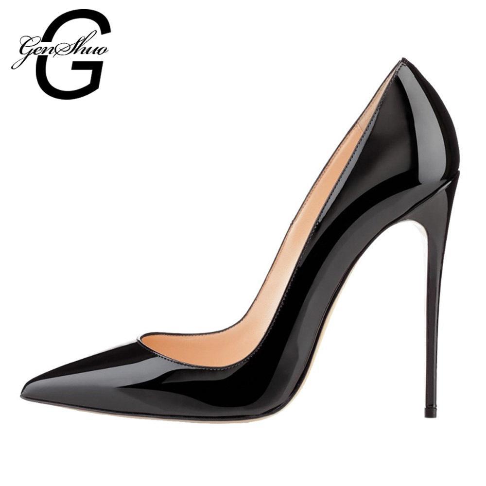 code promo 78ebf b34a3 Acheter 2019 Femmes Escarpins, Chaussures À Talons 12cm Noir Stiletto Bout  Pointu Femme Chaussures Chaussures De Soirée Sexy Chaussures À Talons Nus  ...