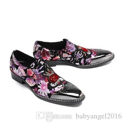 Herrenschuhe Business Casual rosa Blume Leder Tipp Mode Jugend Hochzeit Schuhe Borgues bequeme atmungsaktive Lederschuhe