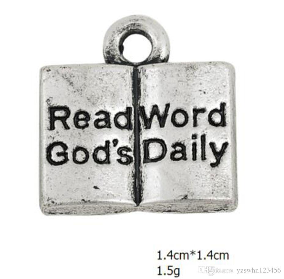 Clássico Tibetano Banhado A Prata Gravado Ler a Palavra de Deus Diariamente em Encantos Livro de Bíblia DIY Cristianismo Jóias