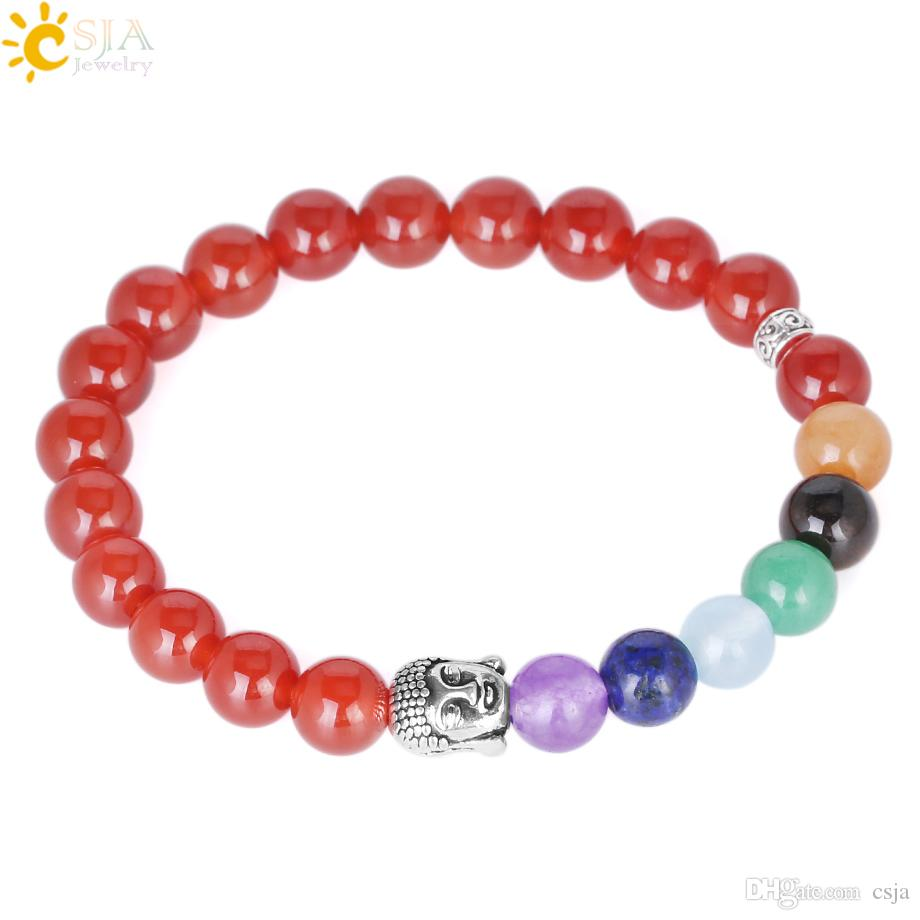 CSJA Elastic Tibetan Buddhist Prayer Beads Bracelets Buddha Mala Rosary Natural Red Agate Stone Beaded Charm Bracelet Bangle Jewelry E693
