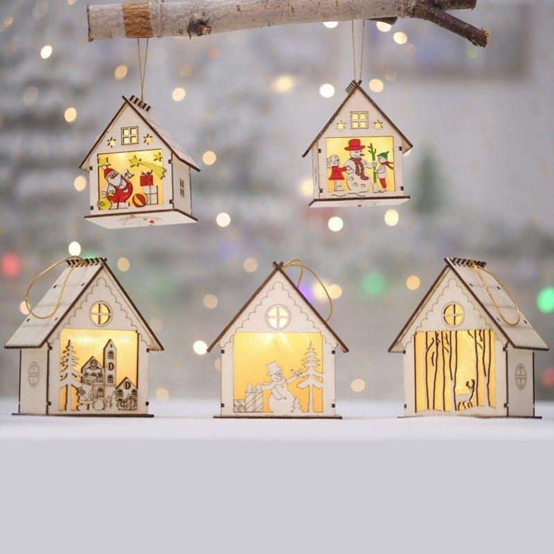 Acheter Festival LED Lumière Bois Maison Arbre De Noël Suspendus Ornements De Vacances Belle Cadeau De Noël Cadeau De Mariage Décoration De $10.85 Du