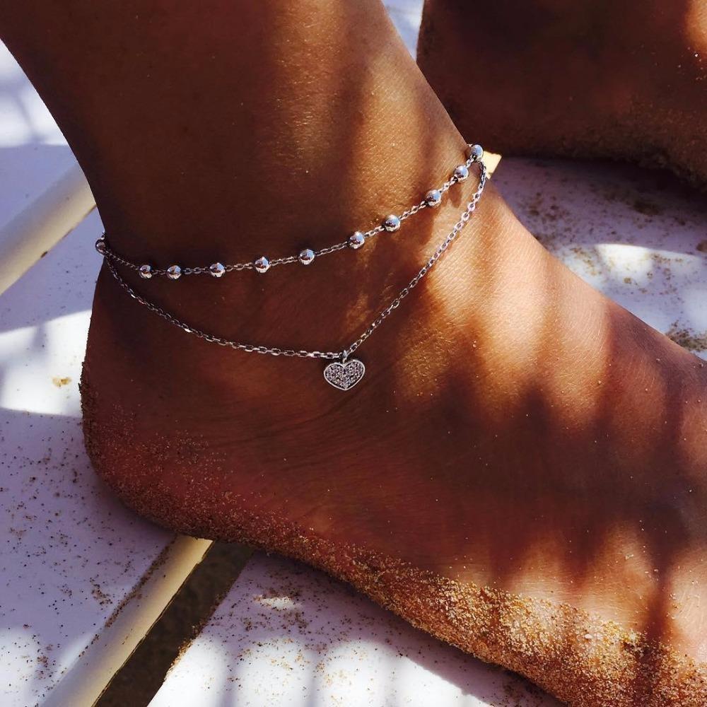 Богемный ретро персик сердце звезда кулон Кристалл серебро двойной слой ножные браслеты ювелирные изделия пляжные аксессуары для женщин