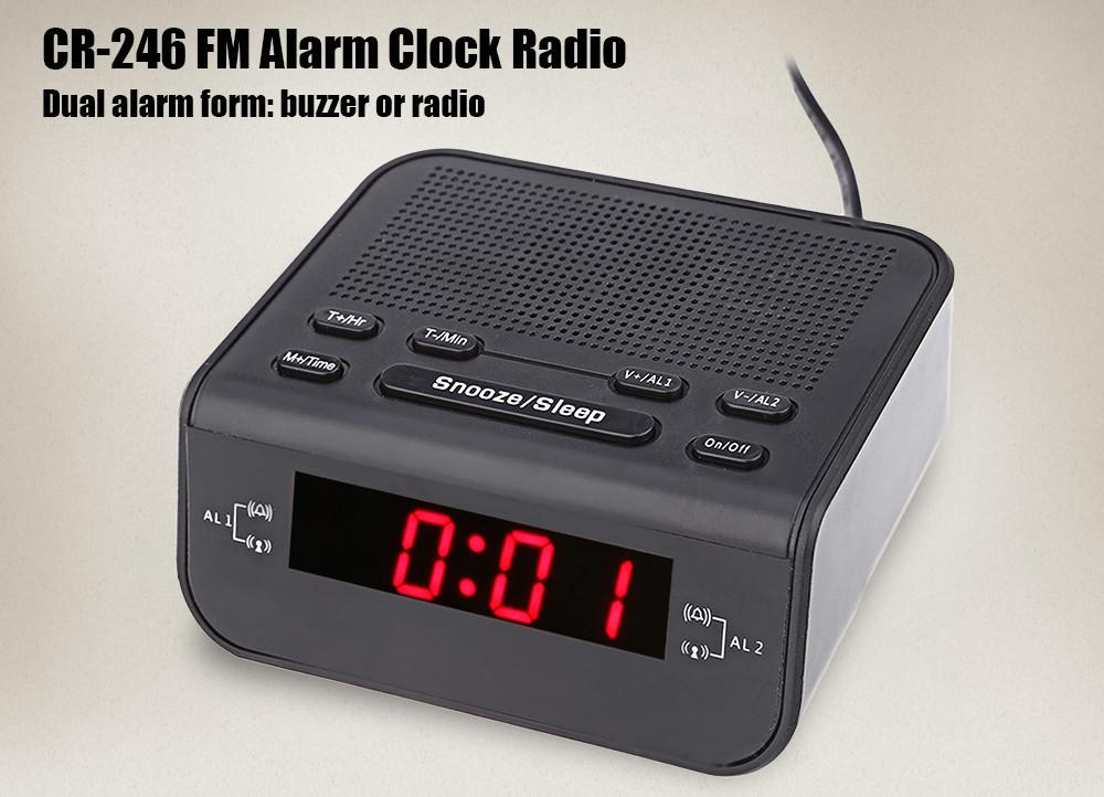 2017 Modern Design Alarm Clock FM Radio with Dual Alarm Buzzer Snooze Sleep Function Compact Digital Red LED Time Display Clocks03