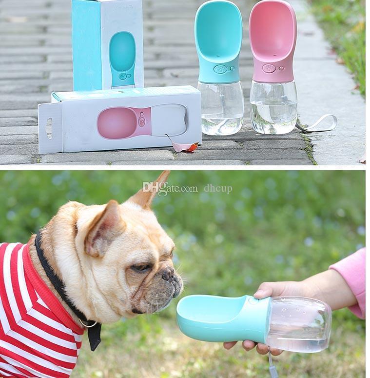 Portable 350ml Animali Cani Alimentazione Strumenti bottiglia di acqua il trasporto ermetiche all'aperto corsa del cane di animali Dispenser acqua DHL