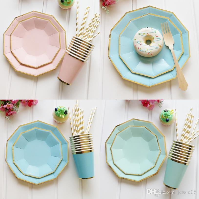 Alles Gute zum Geburtstag Hochzeit Einweggeschirr Sets Schalen Teller Strohhalme Papier Dessert Candy Kuchen Sparkle Gold Tablewares bunt