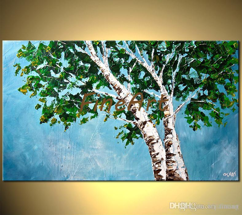 hand painted tree oil painting contemporary art palette knife oil painting textured canvas abstract modern office wall décor big canvas art