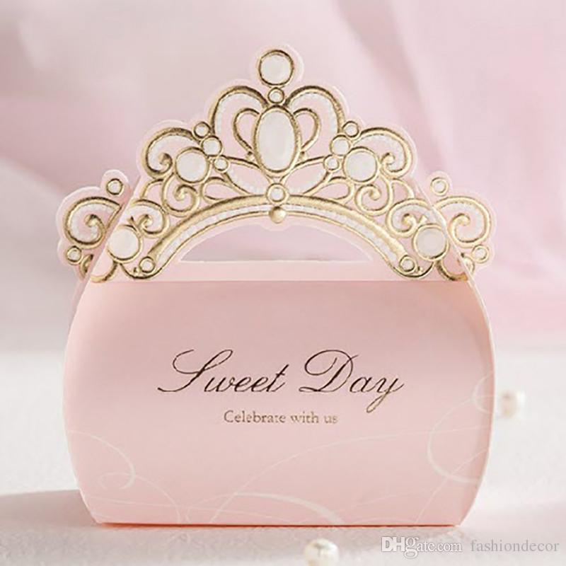 12pcs / lot rose feuille d'or couronne brillant rose bonbons au chocolat boîte décorations de mariage faveur de mariage cadeau d'anniversaire fête cadeaux boîte