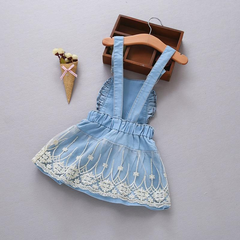 12M-4 Years Baby Sundress 2017 Baby Girl Dress Summer Denim Dresses for Girls Overalls Kids Jeans Bebe Infant Clothes DQ413