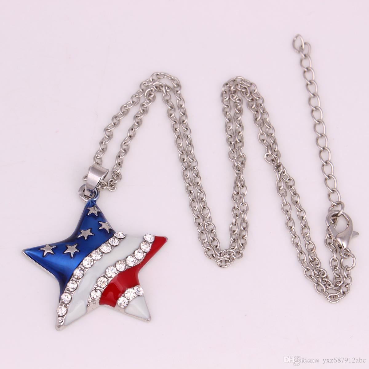 Free Shipping 50pcs A Lot Trendy Fashion Jewelry Enamel American Flag Star With Clear Crystal Stones Pendant Necklaces For Women
