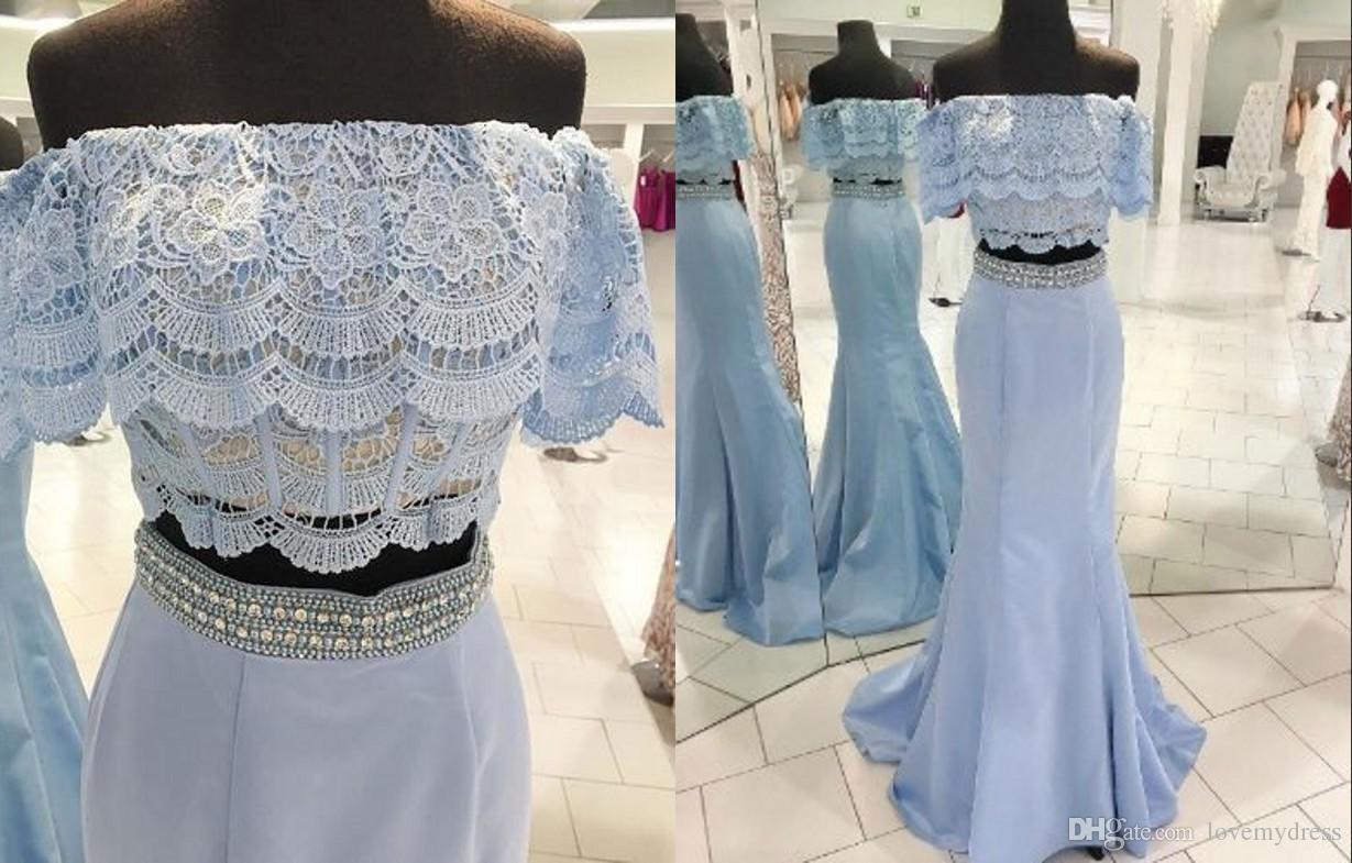 2021 Leichter Himmel Blau Boho Abendkleider aus der Schulter Zwei Stücke Meerjungfrau Satin Spitze Kristall Pailletten Perlen lang günstige formale Kleider