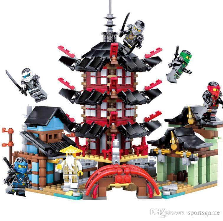 Templo ninja 737 + pcs diy building block define brinquedos educativos para crianças compatível legoing ninjagoes frete grátis