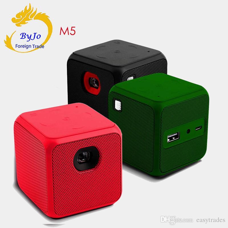 M5 Mini Projetor Android Dual band WIFI Suporte de tela de sincronização sem fio Bluetooth 1080 P home cinema bateria projetor