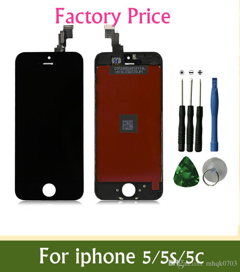 Factory Price Wholesale Grade A ++ LCD For iPhone 5 5S 5C LCD Display Touch Screen Digitizer free Best Repair Replacement With Repair Tools