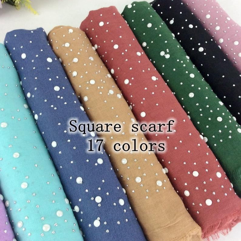 Square Scarf Plain Cotton Headscarf With Studs And Pearls Scarf Muslim Hijab 2018 Fashion Shawls And Scarves Women Wraps 10pcs S18101904