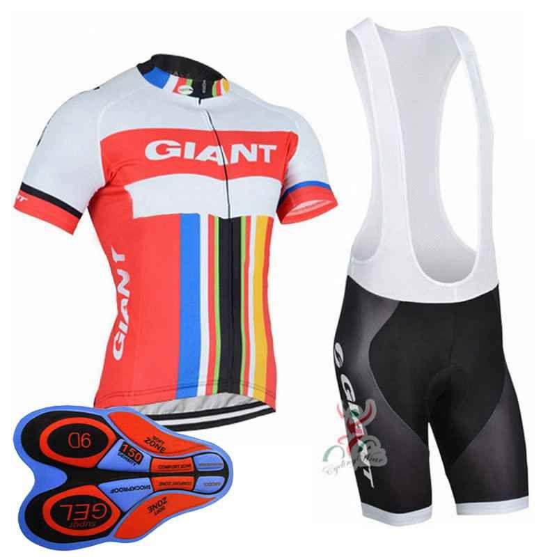 Giant team Cycling Short Sleeves jersey (bib) shorts sets uniform MTB Ropa Ciclismo mens Maillot Culotte 9D gel pad 10417J