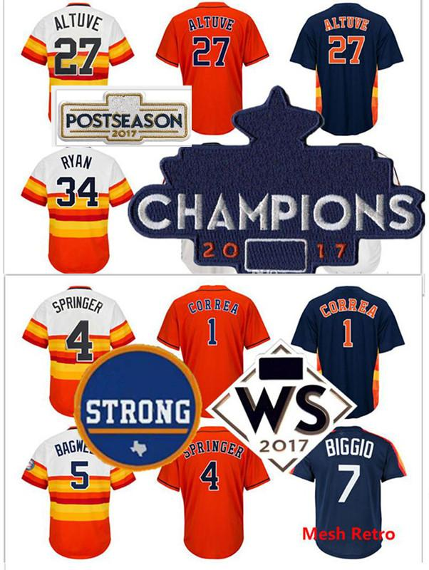 huge selection of 2ad53 cc78c 2018 Houston Strong Ws Champions Patch 27 Jose Altuve 34 Nolan Ryan Jersey  4 George Springer Carlos Correa Jeff Bagwell Craig Biggio Jerseys From ...