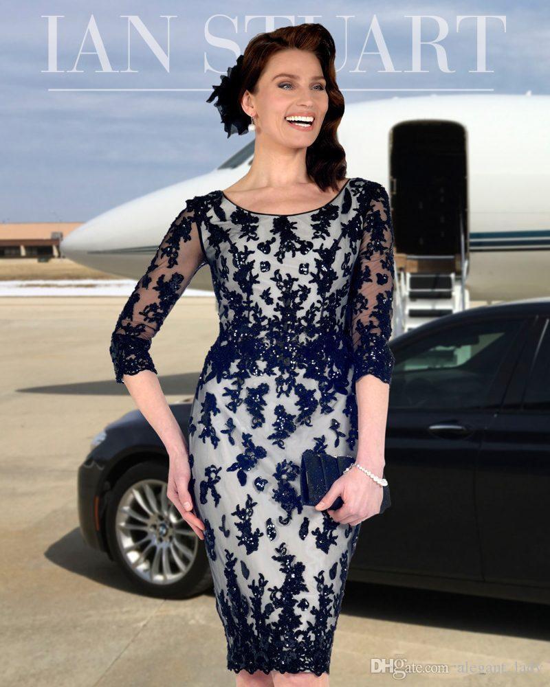 Elegant Navy Mantel Spitze Mutter der Braut Kleider Perlen Bateau Neck mit halben Ärmeln Hochzeitsgast Kleid knielangen Abendkleider