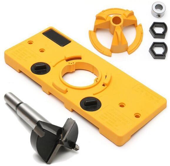 35 mm Cerniera Drilling Jig Forstner Bit Cup Style A Scomparsa Cerniera Jig Drill Guide Set Porta Foro Boring Template /& Bit Cerniera Trapano Jig drill Guide Set