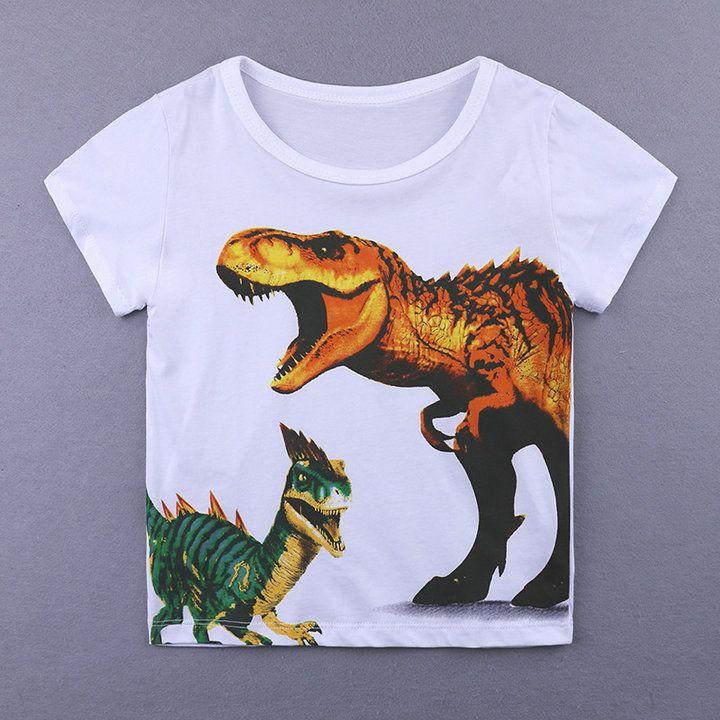 Niño infantil Bebés Ropa para niños Algodón manga corta verano Camisetas O cuello diseño de dinosaurio niños Top para 1-6y camiseta